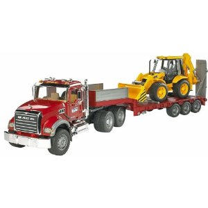 Bruder Toys Bruder Mack Granite Flatbed Truck with JCB Loader Backhoe at Sears.com