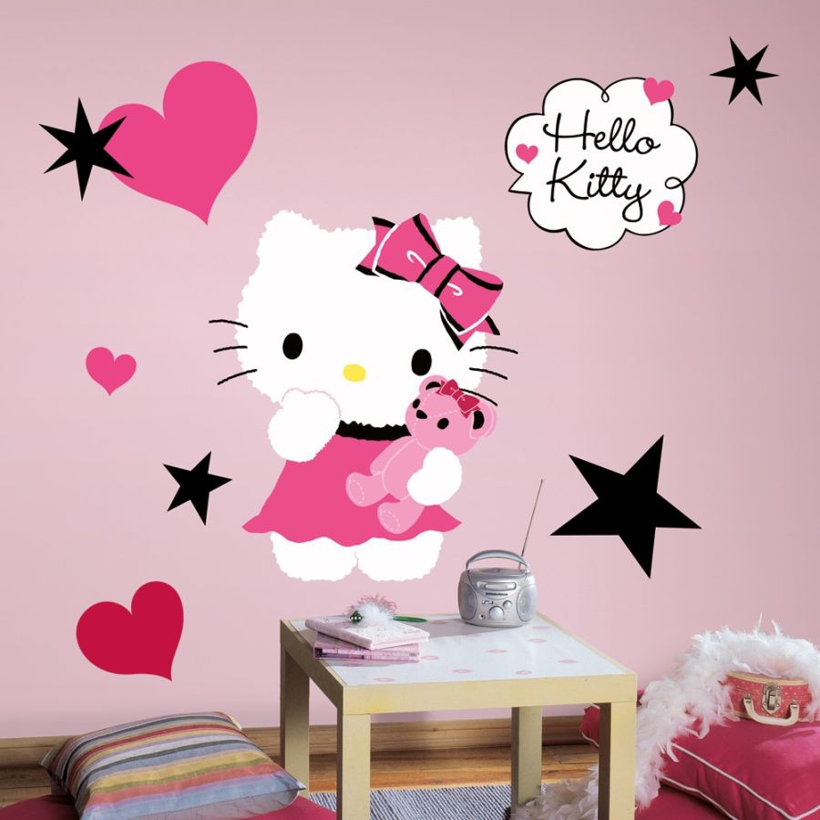 roommates rmk2014gm hello kitty couture giant wall decals